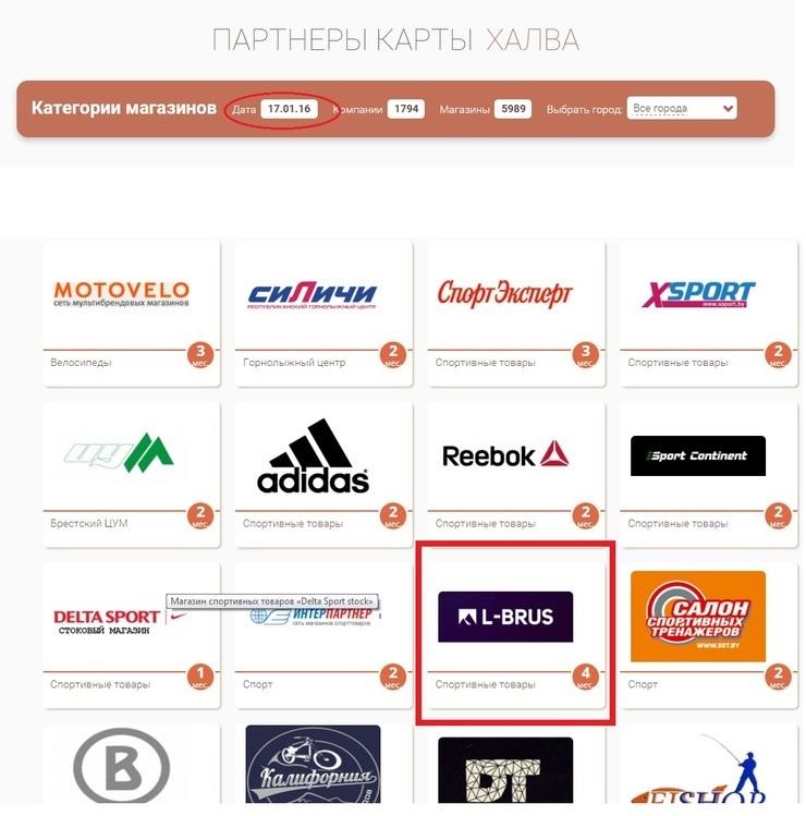Список магазинов-партнеров и условия рассрочки