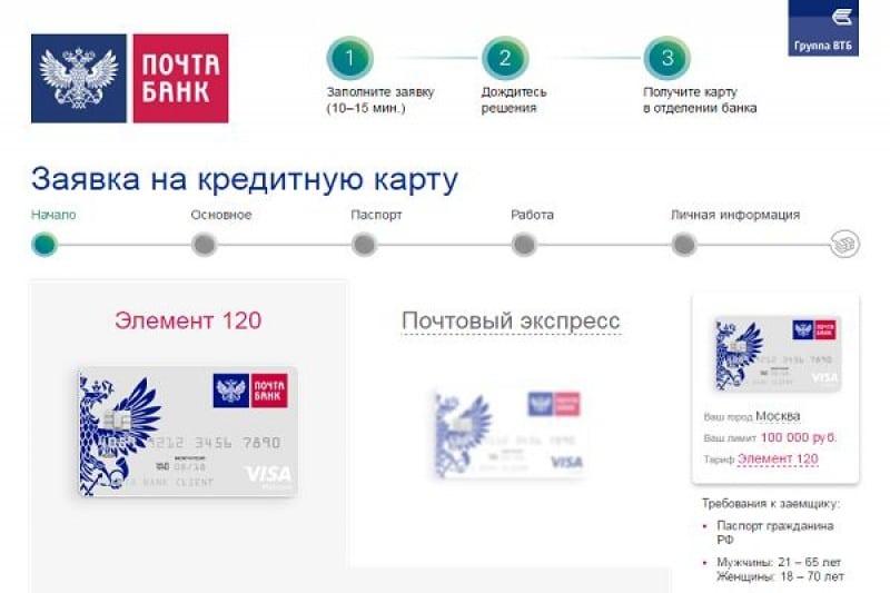Как оформить заявку накредитную карту Почта-банка
